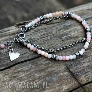 różowy opal - bransoletka, opal, delikatna