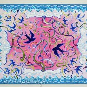 Pi art jaskółki, ptaki, wiosna, błękit,