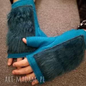 rewkawiczki bezpalcowe z futerkiem turkusowe, rękawiczki, bezpalcowe, filc