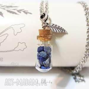 naszyjnik - lapis lazuli szklana fiolka, nszyjnik, medalion, wisiorek