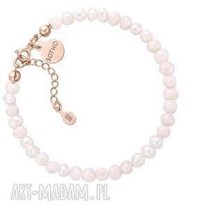 bransoletka z pereł naturalnych wykończona różowym złotem, bransoletka, perły