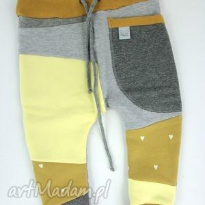 hand-made ubranka patch pants - eco dresik dziecięcy żółto szary