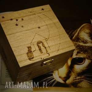 aksinicoffeepainting kocie puzderko - drewniane pudełko - woodburning