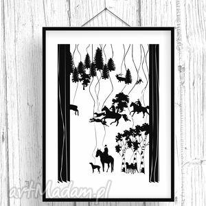 grafika scena z polowania , polowanie, a2, plakat, obraz, czarnobiały dom