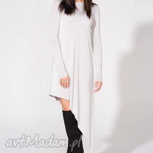 Sukienka asymetryczna, T152, jasnoszara, sukienka, dzianina, wiskoza, asymetryczna