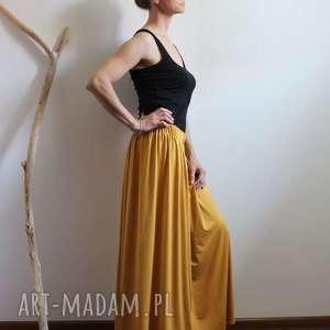 długa zwiewna lejąca się spódnica boho kolory, spódnica, letnia, wiskoza, musztardowa