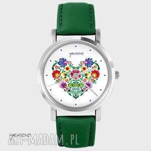 ręczne wykonanie zegarki zegarek - folkowe serce skórzany, zielony