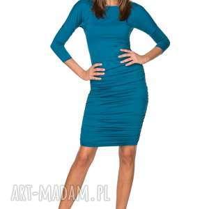 DOPASOWANA SUKIENKA Z MARSZCZENIAMI PO BOKACH, T217 MORSKI, sukienka, dopasowana