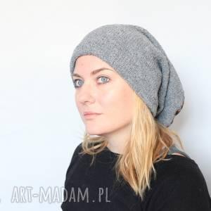 Ruda Klara? czapka handmade unisex szara paski męska damska