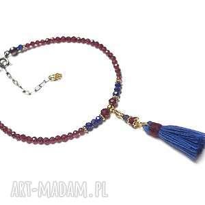 Garnet - bransoletka, granaty, granat, lapis-lazuli, szafir, boho, chwost