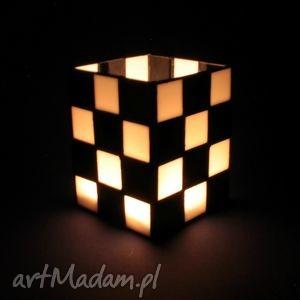 LAMPION WITRAŻOWY - CHESS , lampion, box, skandynawski, szkło, witraż, minimalizm