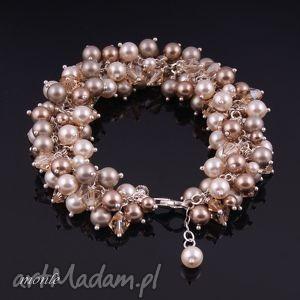 Bransoletka z pereł Swarovski, ecru - ,bransoletka,perły,swarovski,ecru,srebro,