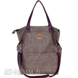 na ramię torebka damska cube z nutką śliwki, torebka-damska, torba-z-kieszonkami