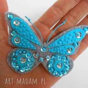 Turkusowy motyl - broszka z filcu, filc, motyl, blyszczący, broszka, biżuteria