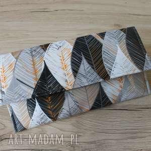 ręcznie wykonane kopertówka - szare liście