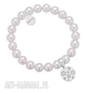 biała bransoletka z pereł swarovski crystal ze srebrnymi śnieżynkami