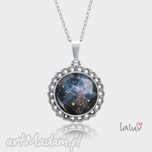 laluv medalion okrągły mały mystic mountain, kosmos, wszechświat, gwiazdy