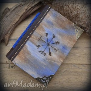 Notes A6 z drewniano-skórzaną miękką okładką Wiking - ręcznie robiony i malowany