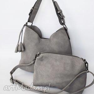 Dwie w jednej - szara, torba, torebka