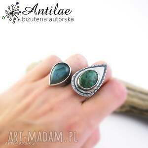 Pierścionek z turkusem, srebrny pierścionek, zielony turkus, srebro oksydowne, duży