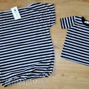 Komplet bluzek w paski czarno-szare mama i dziecko !!, dmamaisyn, mamaicórka,