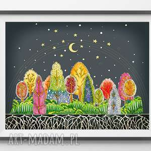 Las 50x70cm, las, drzewa, plakat, rysunek, grafika, obraz