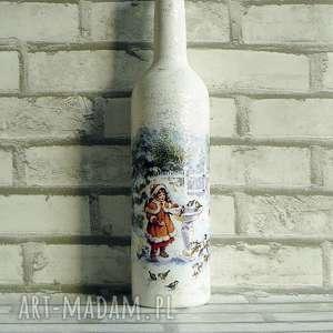 świąteczna dekoracja dziewczynka z ptaszkami butelka z - święta