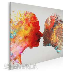 obraz na płótnie - pocałunek para kolorowy w kwadracie 80x80 cm 73402