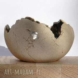 Zestaw 3 lampionów ceramicznych jasnych, szkliwionych ceramika