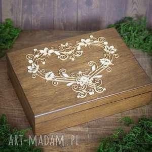 Pudełko na obrączki ślubne, pudełko, obrączki, drewno, koronka, eko,