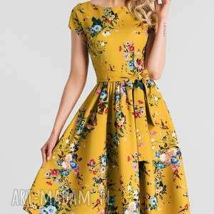 Sukienka MARIE Midi Patricia, rozkloszowana, kwiaty, pasek