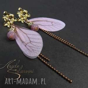 angelo kolczyki 8,5cm agat trawiony i skrzedła, kolczyki, skrzydła, kamień