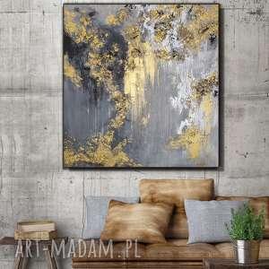 kopalnia złota - obraz do salonu ręcznie malowany abstrakcyjny prezent