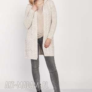 swetry warkoczowy płaszczyk, swe206 beżowy mkm, warkocze, zkapturem, naspacer