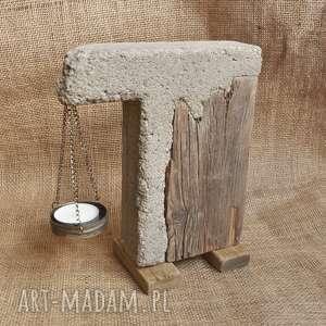 Świecznik z betonu i drewna, loft, industrialny, unikat 3