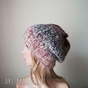 ręcznie wykonane czapki brązy w kremie czapka