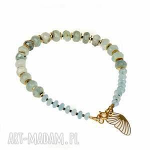 artseko złocona bransoletka z akwamarynem c883, bransoletka, biżuteria