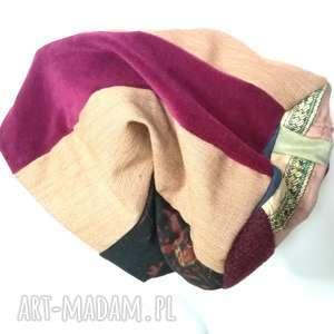 ręcznie zrobione czapki czapka patchworkowa boho tkanina wełna dzianina handamade