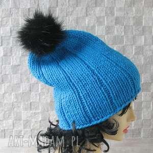 Czapka robiona ręcznie .Turkus, czapka, gruba, slouchy, hipster, fashion, street