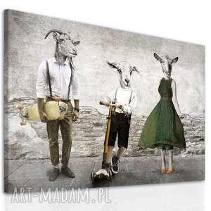 nowoczesny obraz na płótnie z kozami - rodzina kozłowskich - pan kozioł, pani