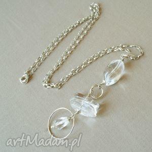 naszyjnik z kryształu górskiego i srebra - delikatny, przeźroczysty, kobiecy