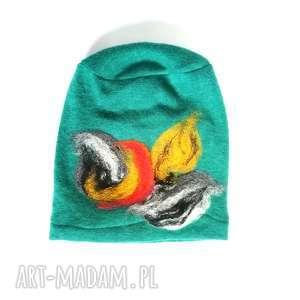 czapka turkusowa wełniana handmade na podszewce - welna, merynosy, zimowa, ciepła