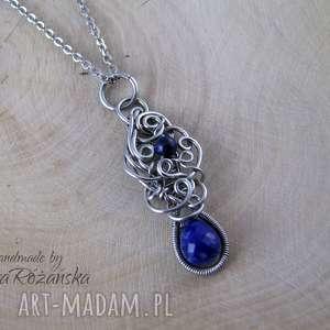 wisiorek z lapis lazuli, wire wrapping, stal chirurgiczna, wisiorek, lazuli
