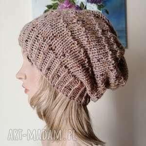 hand-made czapki akrylowa czapka z rustykalnym akcentem