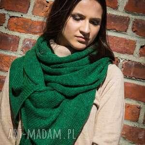 hand-made szaliki ciepły zielony szal