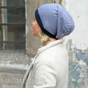 ręczne wykonanie czapki czapka damska typ sportowy dzianinowa smerfetka na podszewce