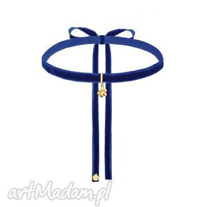 naszyjniki kobaltowa aksamitny choker ze złotą łapką, modny, choker, zawieszka