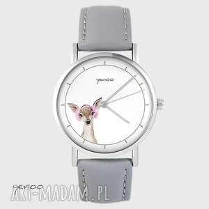 zegarek yenoo - sarenka skórzany, szary, zegarek, pasek, sarna