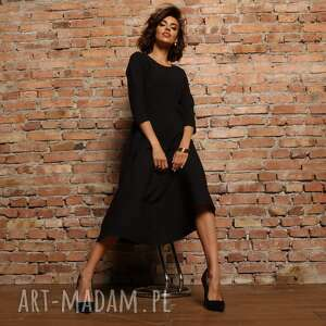 elegancka sukienka maxi z zamkiem krytym, t327, czarna, elegancka