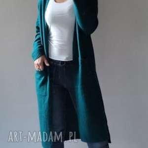 długi sweter z kieszeniami, kobiecy, długi, klasyczny, elegancki, kieszenie